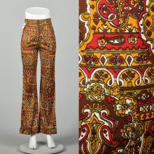 Small 1970s High Rise Pants Psychedelic Print Bohemian Bell Bottoms