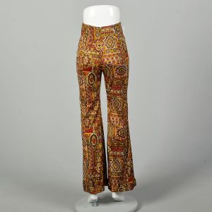 Small 1970s High Rise Pants Psychedelic Print Bohemian Bell Bottoms  - Fashionconstellate.com
