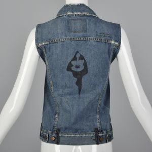 XXS Levis LVC Cotton Denim Vest Metal Buttons Horror Themed Print - Fashionconstellate.com