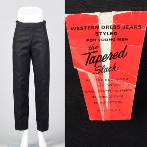 XS 1960s Mens Deadstock Pants Black Twill Jeans Tapered Trousers