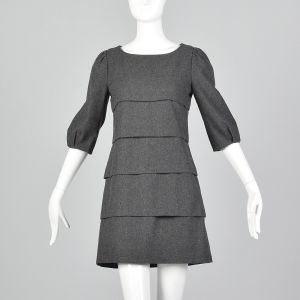 Medium 1990s Miu Miu Gray Mini Dress Layered Ruffles Shift Dress