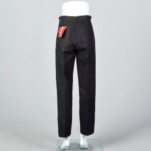 XS 1960s Mens Deadstock Pants Black Twill Jeans Tapered Trousers - Fashionconstellate.com
