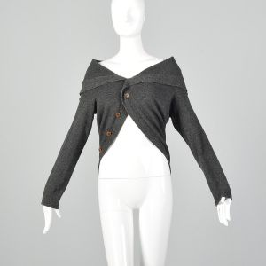OSFM Comme des Garçons Cropped Sweater Gray Circle Wool Avant Garde Unique Cardigan