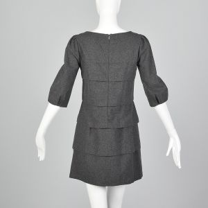 Medium 1990s Miu Miu Gray Mini Dress Layered Ruffles Shift Dress - Fashionconstellate.com
