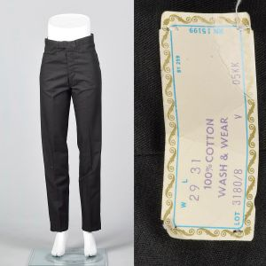 Small 1960s Mens Pants Black Cotton Deadstock Trousers