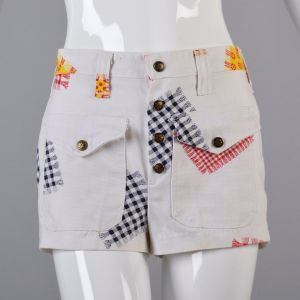 XS White Shorts 1970s Snap Fly White Red and Yellow Gingham Patchwork Patch Pockets