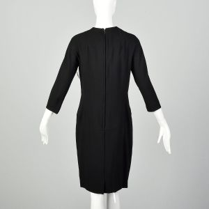 Medium 1960s Little Black Dress Classic LBD Bracelet Sleeves Timeless Shelf Bust - Fashionconstellate.com