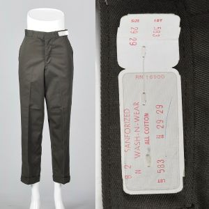 Small 1960s Mens Pants Deadstock Cotton Trousers