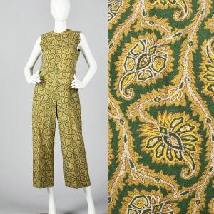 Small 1980s Green Print Jumpsuit Gold Leaf Pattern Sleeveless Zip-Up Front