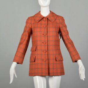 Small 1970s Jacket Casual Red Plaid Boxy Bespoke