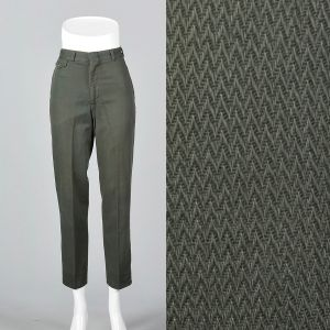 XXS 1960s Men's Pants Green Herringbone Weave Chevron Work Trousers