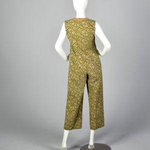 Small 1980s Green Print Jumpsuit Gold Leaf Pattern Sleeveless Zip-Up Front - Fashionconstellate.com