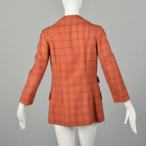 Small 1970s Jacket Casual Red Plaid Boxy Bespoke  - Fashionconstellate.com
