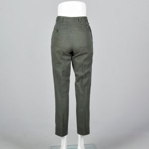XXS 1960s Men's Pants Green Herringbone Weave Chevron Work Trousers  - Fashionconstellate.com
