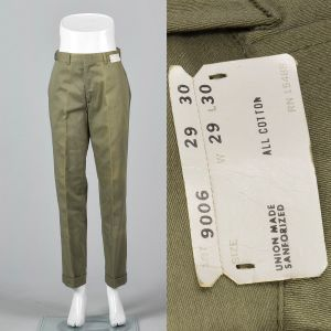 Small 1960s Mens Pants Green Cotton Faded Trousers