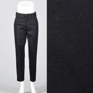 Small 1960s Mens Black Pants Cotton Deadstock