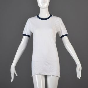 Small White Ringer T-Shirt 1970s Unisex Navy Blue Ribbed Knit Trim Top Slim Tight Fitting Cotton Tee