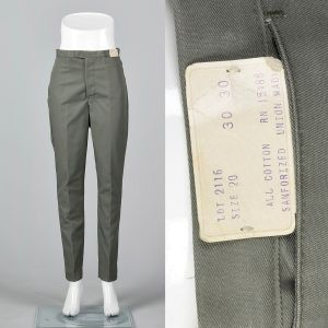 Small 1960s Mens Pants Faded Green Trousers