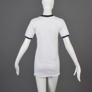 Small White Ringer T-Shirt 1970s Unisex Navy Blue Ribbed Knit Trim Top Slim Tight Fitting Cotton Tee - Fashionconstellate.com