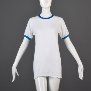 Small White Ringer T-Shirt 1970s Unisex Bright Blue Ribbed Knit Trim Slim Tight Fitting Cotton Tee