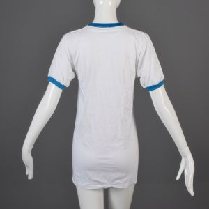 Small White Ringer T-Shirt 1970s Unisex Bright Blue Ribbed Knit Trim Slim Tight Fitting Cotton Tee - Fashionconstellate.com