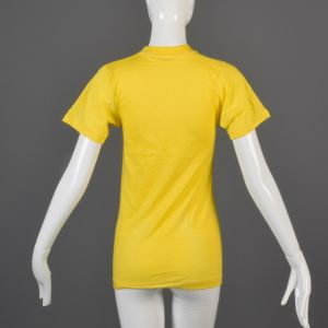 Small Yellow T-Shirt 1970s Ribbed Knit Trim Top Slim Tight Fitting Unisex Tee - Fashionconstellate.com