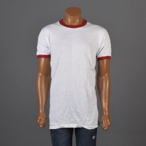 Small 1970s Mens White Ringer Tee Shirt Red Ribbed Knit Trim Deadstock