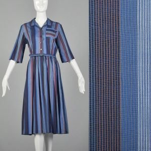 Large 1950s Blue Day Dress Rockabilly Stripe Print Cotton Lightweight Summer Sundress