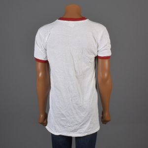 Small Mens 1970s T-Shirt White Ringer Tee Red Ribbed Knit Collar and Cuffs Deadstock Shirt - Fashionconstellate.com
