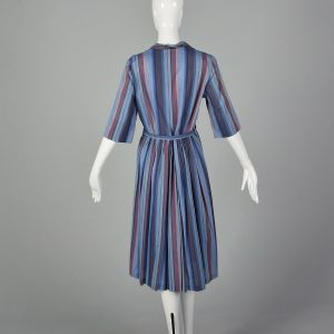 Large 1950s Blue Day Dress Rockabilly Stripe Print Cotton Lightweight Summer Sundress - Fashionconstellate.com