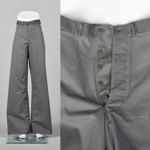 Small 1940s Mens Bell Bottoms Military Sailor Wide Leg Button Fly Pants