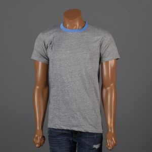 Medium 1970s Mens Deadstock Ringer Tee Gray T-Shirt Blue Ribbed Knit Collar Cuffs Short Sleeve