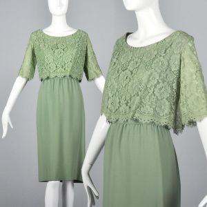 Medium 1960s Emma Domb Dress Green Cocktail Lace Overlay Party Outfit
