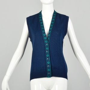 Small 1970s Sweater Vest Navy Blue Knit Pendleton Ribbed Knit Cardigan
