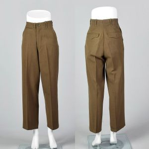 XS 1940s Mens Pants Military Button Fly Wool Trousers