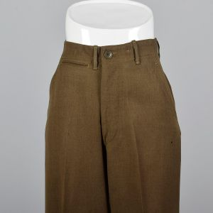 XS 1940s Mens Pants Military Button Fly Wool Trousers  - Fashionconstellate.com
