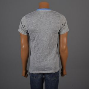 Medium 1970s Mens Deadstock Ringer Tee Gray T-Shirt Blue Ribbed Knit Collar Cuffs Short Sleeve - Fashionconstellate.com