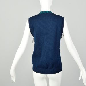 Small 1970s Sweater Vest Navy Blue Knit Pendleton Ribbed Knit Cardigan  - Fashionconstellate.com