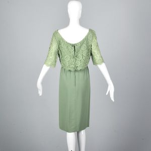 Medium 1960s Emma Domb Dress Green Cocktail Lace Overlay Party Outfit  - Fashionconstellate.com