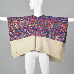 1930s Bohemian Huipil Cotton Poncho Hand Loomed Colorful Mayan Pattern