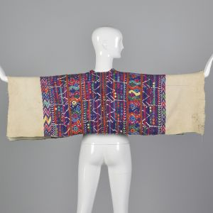 1930s Bohemian Huipil Cotton Poncho Hand Loomed Colorful Mayan Pattern  - Fashionconstellate.com
