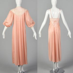 XS 1970s Blush Pink Peignoir Lingerie Set Sheer Lace Neck Nightgown with Matching Silky Robe - Fashionconstellate.com