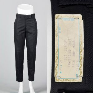 Small 1960s Mens Pants Black Deadstock Trousers