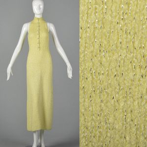 XXS 1970s Metallic Lurex Yellow Maxi Dress Sleeveless Rhinestone Button