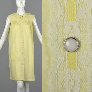 Medium 1960s House Dress Yellow Sleeveless Nightgown White Lace Trim Snap Front Loungewear