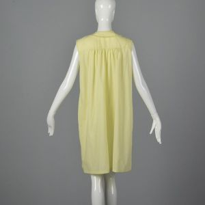 Medium 1960s House Dress Yellow Sleeveless Nightgown White Lace Trim Snap Front Loungewear  - Fashionconstellate.com