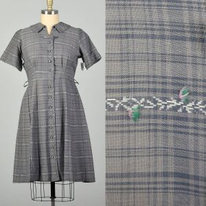 XXL 1950s Gray Cotton Day Dress Plaid Short Sleeves Summer Casual Volup