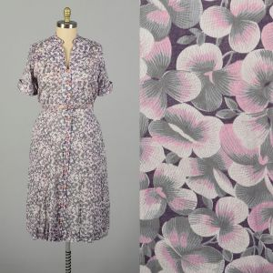 3XL 1950s Pink Pansy Dress Semi Sheer Floral Print Casual Short Sleeve Button Front