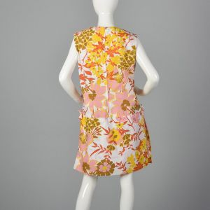 Large 1960s Floral Romper Drop Waist Mini Shift Dress Shorts Overskirt Zip Open Crotch Floral Print  - Fashionconstellate.com