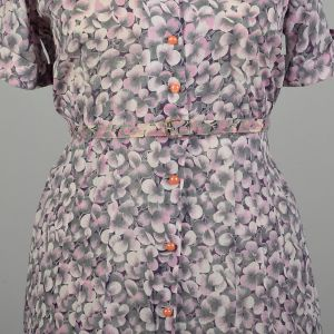 3XL 1950s Pink Pansy Dress Semi Sheer Floral Print Casual Short Sleeve Button Front  - Fashionconstellate.com